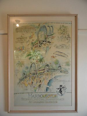 Unwanted Large Framed Hand Drawn Images Of Darling Harbour Sydney~Signed