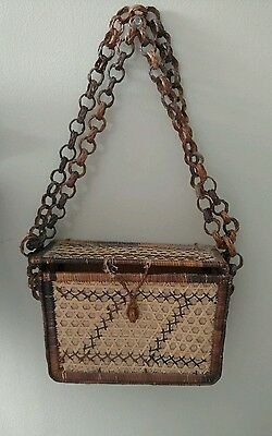 Vintage 30s/40s Boxy Hand Woven Rattan Straw Purse hand Bag