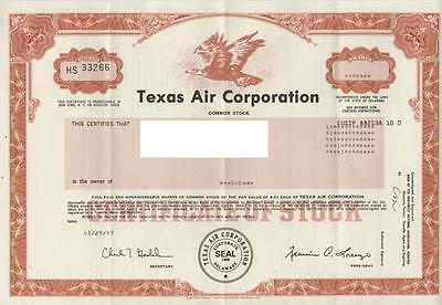 1987 Texas Air Corporation Common Stock Certificate / 1 Share