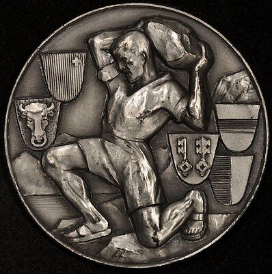 (ND) ZUG SWISS SHOOTING MEDAL R-1694a M1017 50mm SILVERED BRONZE RARE