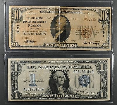 1934 $1 Silver Certificate Funny Back + 1929 $10 National Currency Roscoe Ny