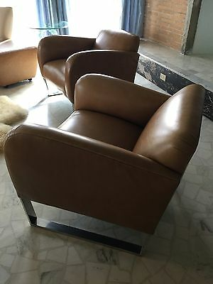 2 1980's Donghia Leather Original Focal Club Lounge Chair Pair Chrome Holly Hunt