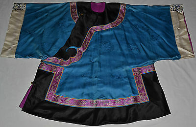 Antique Chinese Silk Ladies Robe Embroidered Sleeve Bands