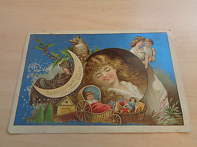 Vintage Victorian Trade Card-Christmas-Woolson Spice Co-Lion Coffee