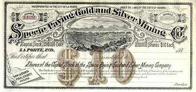 188_ Specie Paying Gold & Silver Mining Stock Certificate