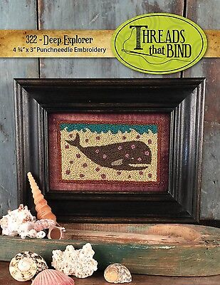 DEEP EXPLORER PUNCHNEEDLE EMBROIDERY PATTERN, From Threads That Bind NEW