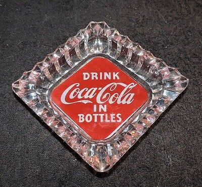 "RARE ORIGINAL 1940's  "" COCA COLA  ""  GREEN  FELT GLASS ASHTRAY  "" NICE """