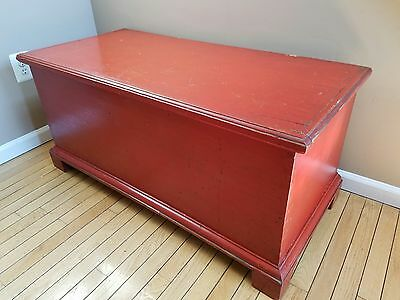 Antique PA 6 Board Dovetailed Red Painted Rustic Primitive Blanket Chest