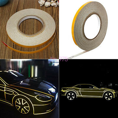 RED 1CM X 45M SAFETY FIRST ROLL REFLECTIVE TAPE STRIPE FOR CARS//MOTORCYCLES