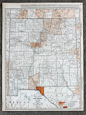 1935 NEW MEXICO Railroad Map Large Double Page RR List Routes ORIGINAL