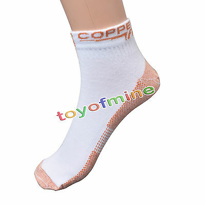 2 Pairs Sports Socks Copper Fit Compression Infused 1 White 1 Black Tommie Wear