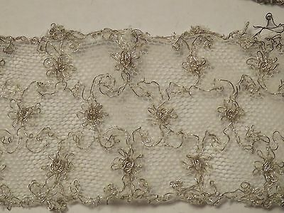 "Antique Lace Trim Net Tulle Silver Metallic 36"" x 1 6/8"" Patina"