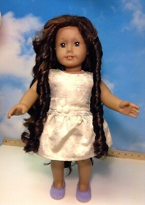 American Girl  Doll Brown/black Hair & Green Eyes (7)