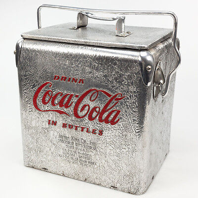 Vintage 1950's Coca-Cola Acton Crinkled Aluminum 6 Pack Picnic Cooler Very Rare