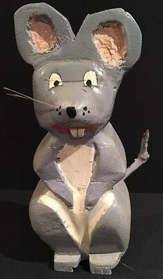 Vintage Hand Carved & Painted Mouse Canadian Folk Art RARE