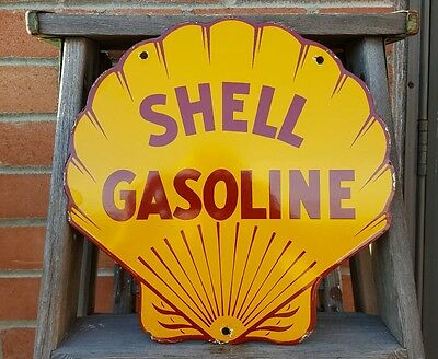 Shell Gasoline Oil pump plate vintage thick porcelain old heavy steel sign