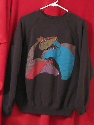 VTG Laurel Burch Sweatshirt Horses Black Background Made in the USA HANES XL 46-