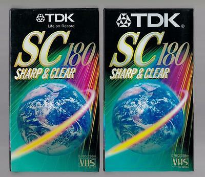 2x TDK E-180SCAA Blank Video Tapes, VHS, New and Sealed