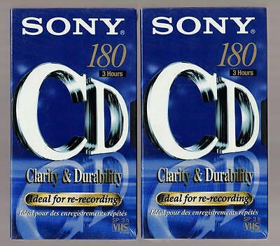2x SONY E-180CDe Blank Video Tapes, VHS, New and Sealed