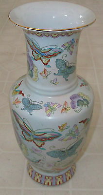 Vintage Hand Painted Famille Style Chinese Butterfly Vase Pottery Asian Signed