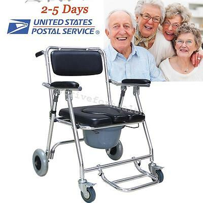 Mobile Commode Chair with 4 brakes, Wheels & Footrests Wheelchair Toilet US SELL