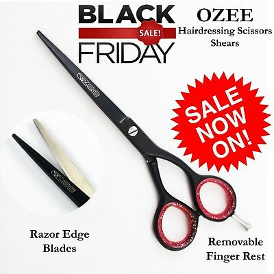 New 6'' Barber Salon Hairdressing Scissors BLACK Hair Cutting Shears RAZOR SHARP