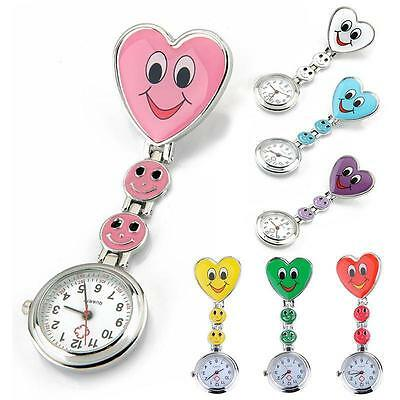 Nurse's Stainless Steel Smile Smiley Face Quartz Fob Pocket Watch Clip On Yu