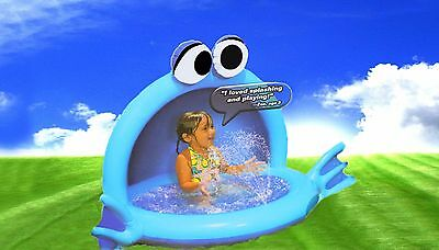 Banzai Playful Puffer Fish Inflatable Kids Pool with Sprinkler For Ages 2+ (NEW)