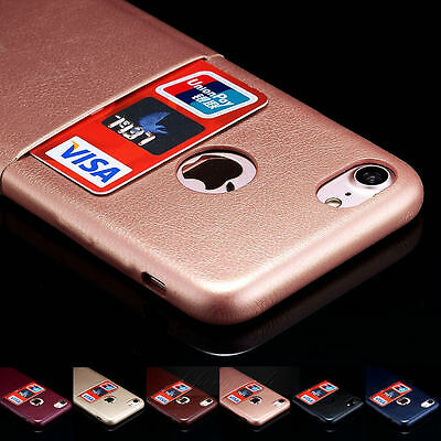 Leather Wallet Card Slot Holder Back Ultra-Thin Cover Case For iPhone 6S 7 Plus