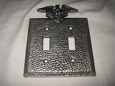 Edmar Eagle Hammered Finish Metal Dual Switch Plate Cover Silver & Black Vintage