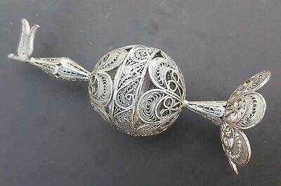 Judaica Sterling Silver 925 Filigree Besamim, Spice Tower Israel