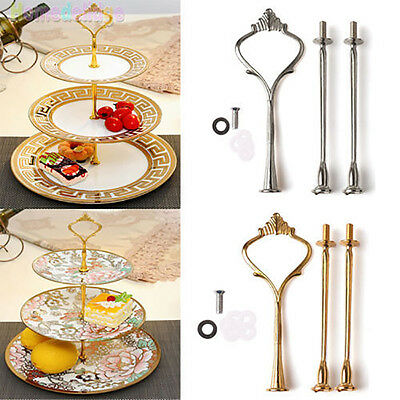 2/3 Tier Cake Plate Stand Crown Handle Fitting Hardware Rod Plate Wedding Magic