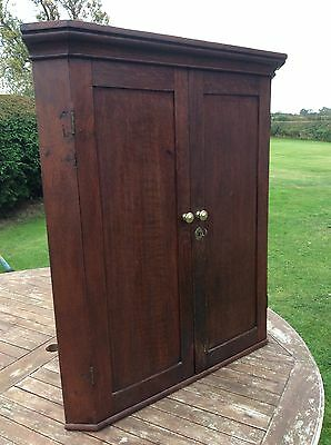 ANTIQUE GEORGIAN WALL HANGING CABINET SHAPED SHELVES Good Condition