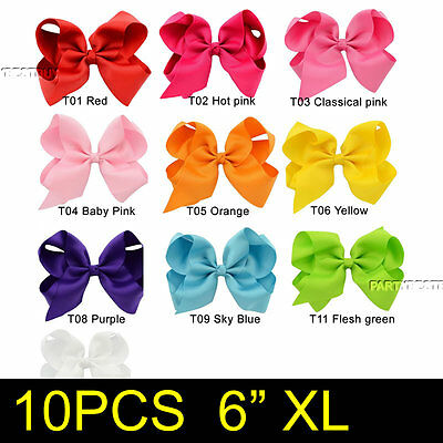 10PCS 6 Inch Baby Girls Big Grosgrain Ribbon Boutique Hair Bows Alligator Clips