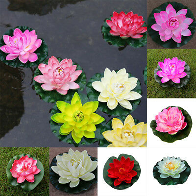 Artificial Aquarium Fish Tank Floating Lotus Water Lily Flower Pond Decor