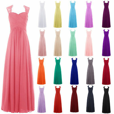 Long Chiffon Lace Bridesmaid Formal Ball Gown Party Evening Prom Maxi Dress