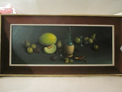 Large Framed Oil On Canvas Painting  Reekie 1968 Still Life  Of Fruit And Wine