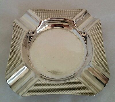 A Sterling silver Engine turned ash tray .Sheffield 1973. By Purcell Brothers