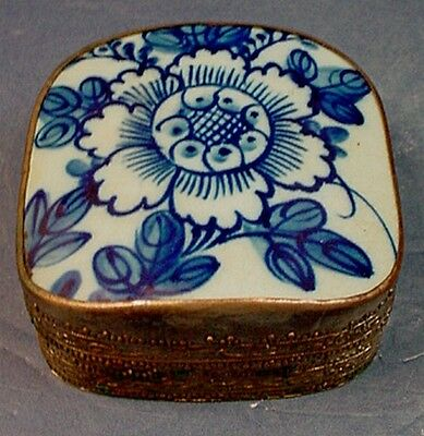 19thC CHINESE BLUE & WHITE PORCELAIN SHARD & SILVER PLATED COPPER SHARD BOX
