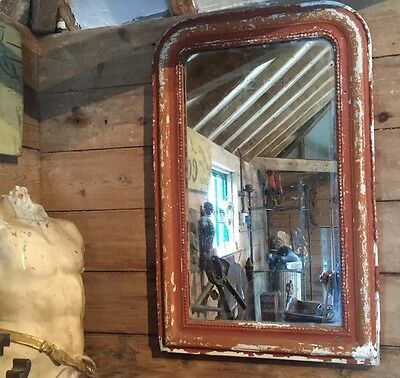 Antique Mirror French Louis Philippe - Original Paint With Foxed Glass