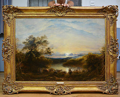 Important Large Fine Mid 19th Century Oil Painting of English Sunset Landscape