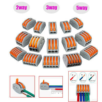 2/3/5 Way Reusable Spring Lever Terminal Block Electric Cable Wire Connector Lot