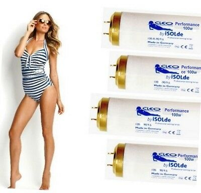 SUNBED TUBES PHILIPS CLEO PERFORMANCE 100 WATT 6ft UVA SOLARIUM TANNING LAMPS