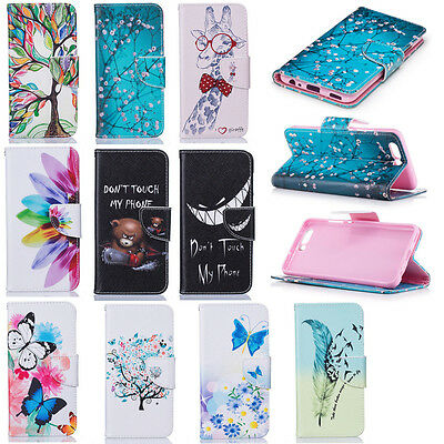 PU Leather Magnetic Flip Stand Card Slot Wallet Case Cover For Samsung Huawei
