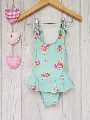 Baby Girls Lovely Pink Roses Mint Green Swimming Costume 6-9 Months