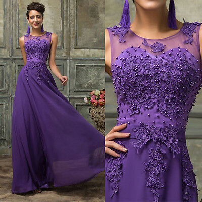 Chiffon Beads Long Formal Bridesmaid Ball Cocktail Prom Dress Party Evening Gown