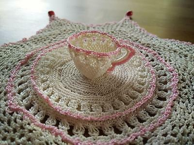Charming Vintage Hand Crochet Beaded Jug Cover - with Crochet Cup Sitting Atop!