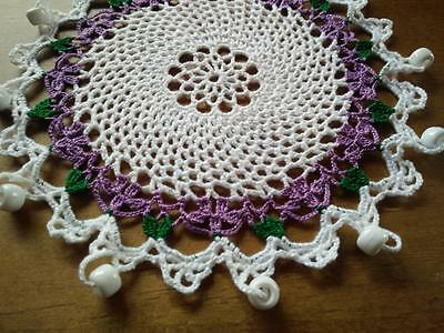 Gorgeous Vintage Hand Crochet White/Puple Beaded Cover - White beads