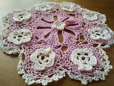 Pretty Pink & White Raised Flowers Hand Crochet Doily