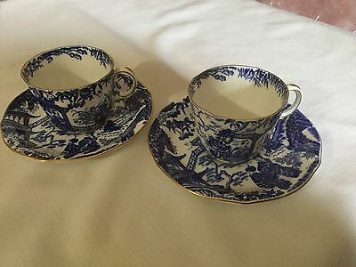 2 Royal Crown Derby Bone China  Cup And Saucer England